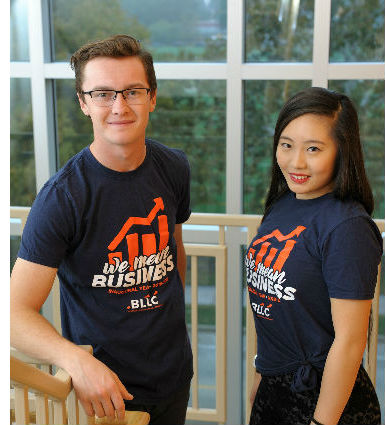 Sophomore Patrick Potter (left) and freshman Michelle Jiang have both found a focus on camaraderie and preparation through their new living arrangements in the Business Living Learning Community.