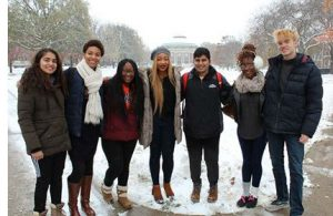 The YouMatter Studios team includes (from left to right) Sanskriti Khurana, Adia Ivey, Daja Wilson, Jewel Ifeguni, Vignesh Sivaguru, Deborah Agoye, and Jake Pisarski.